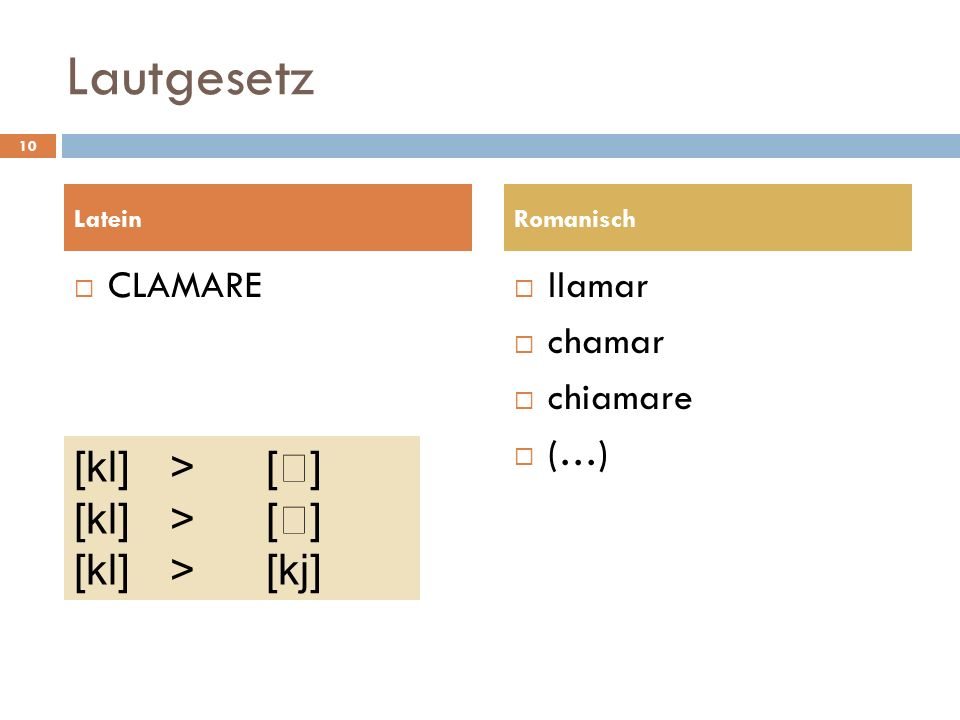 Lautgesetz [kl] > [] [kl] > [] [kl] > [kj] clamare llamar
